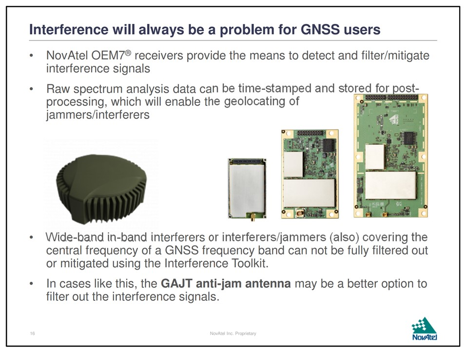 """""""Interference will always be a problem for GNSS users"""" – Novatel"""