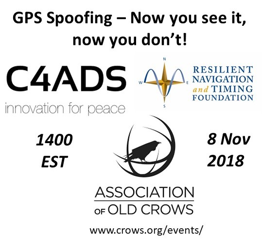 """Free Webinar """"Spoofing GPS – Now you see it, now you don't!"""" – Assn of Old Crows"""