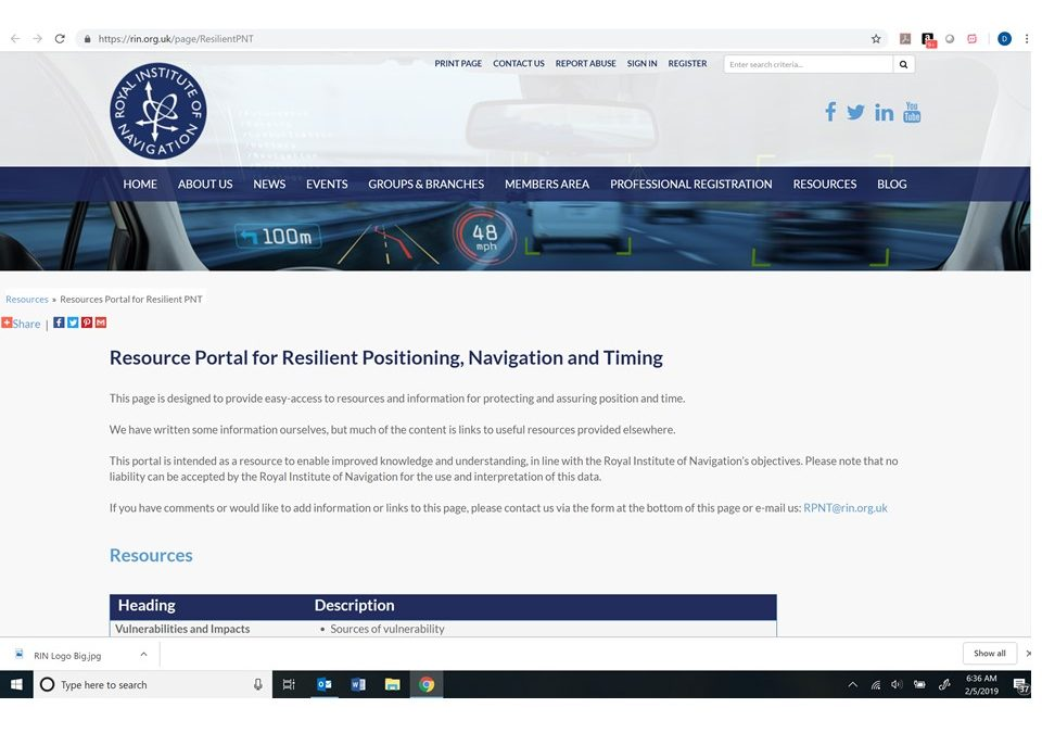 Royal Institute of Navigation announces new Resilient PNT portal – GPS World
