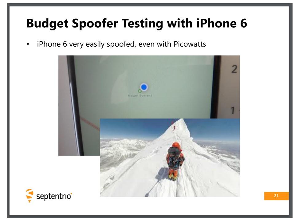 Budget Spoofers and iPhone6 – Septentrio